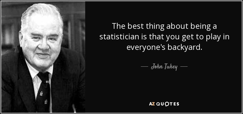 The best thing about being a statistician is that you get to play in everyone's backyard. - John Tukey