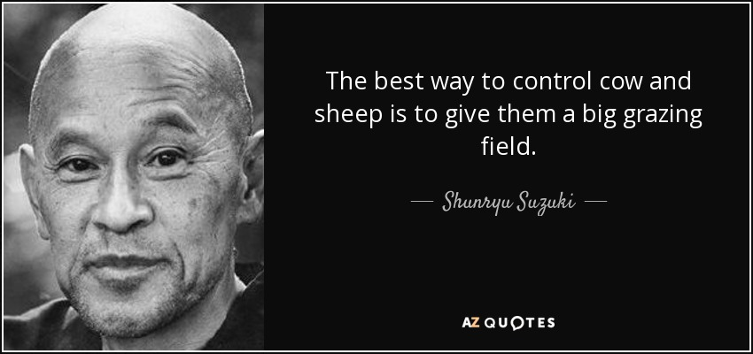 The best way to control cow and sheep is to give them a big grazing field. - Shunryu Suzuki