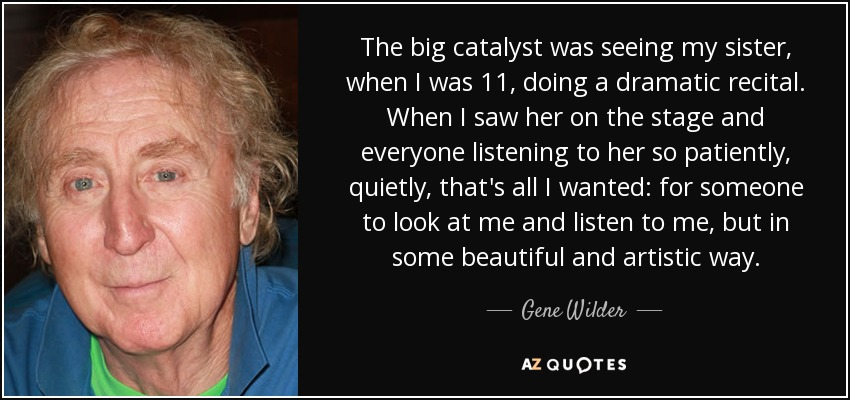 Gene Wilder Quote The Big Catalyst Was Seeing My Sister When I Was