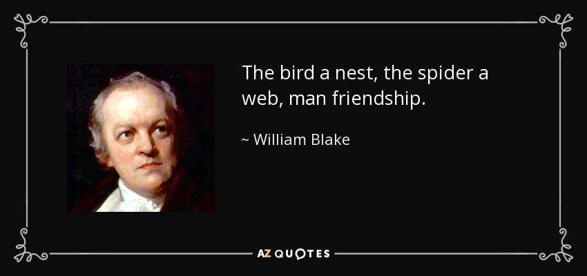 The bird a nest, the spider a web, man friendship. - William Blake