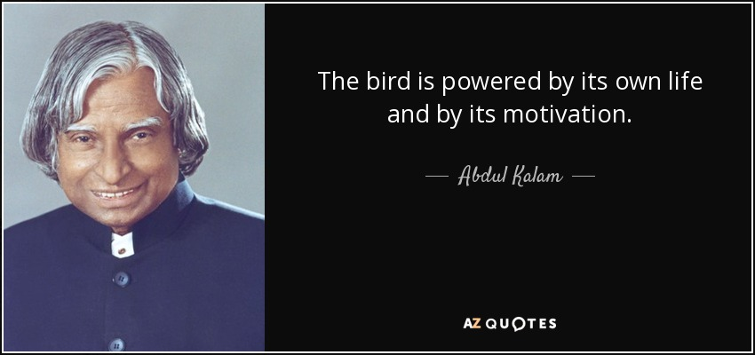 The bird is powered by its own life and by its motivation. - Abdul Kalam
