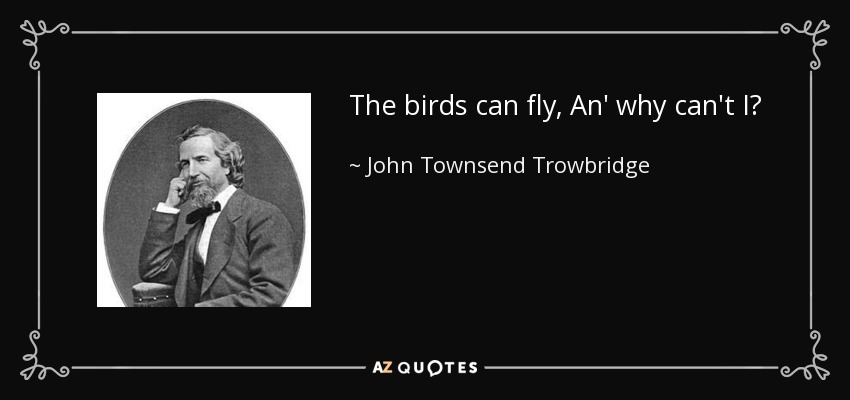 The birds can fly, An' why can't I? - John Townsend Trowbridge
