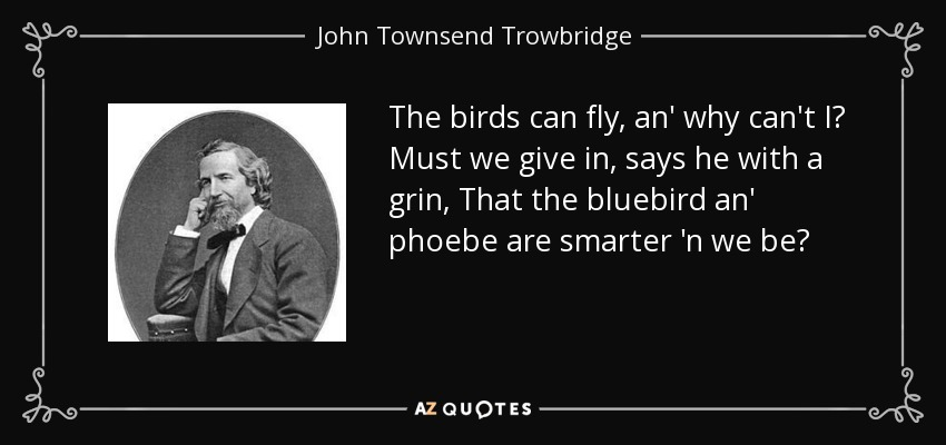 The birds can fly, an' why can't I? Must we give in, says he with a grin, That the bluebird an' phoebe are smarter 'n we be? - John Townsend Trowbridge