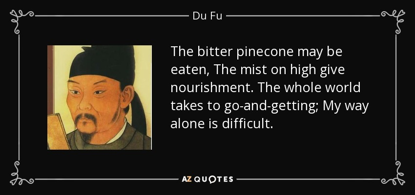 The bitter pinecone may be eaten, The mist on high give nourishment. The whole world takes to go-and-getting; My way alone is difficult. - Du Fu