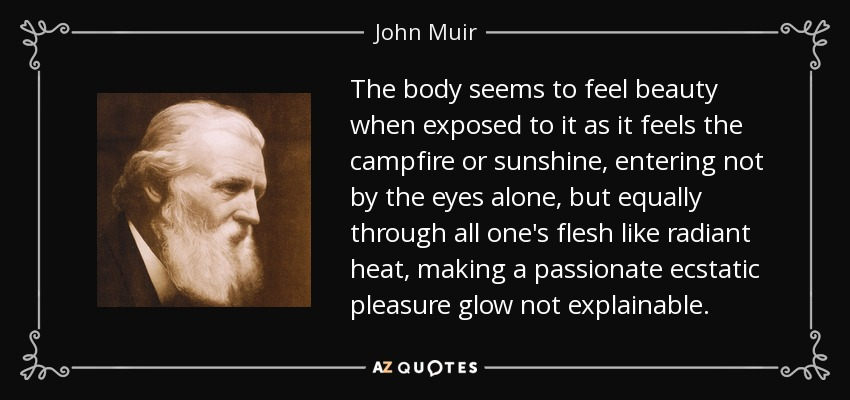 The body seems to feel beauty when exposed to it as it feels the campfire or sunshine, entering not by the eyes alone, but equally through all one's flesh like radiant heat, making a passionate ecstatic pleasure glow not explainable. - John Muir