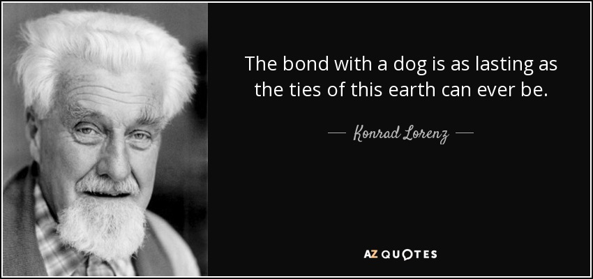 The bond with a dog is as lasting as the ties of this earth can ever be. - Konrad Lorenz