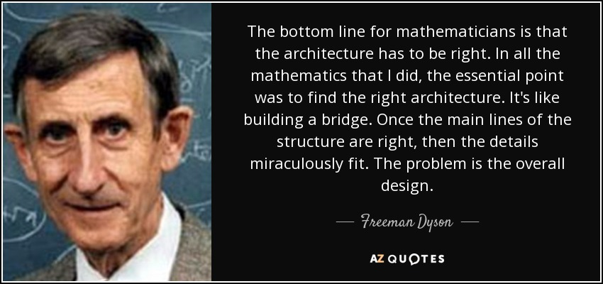 The bottom line for mathematicians is that the architecture has to be right. In all the mathematics that I did, the essential point was to find the right architecture. It's like building a bridge. Once the main lines of the structure are right, then the details miraculously fit. The problem is the overall design. - Freeman Dyson