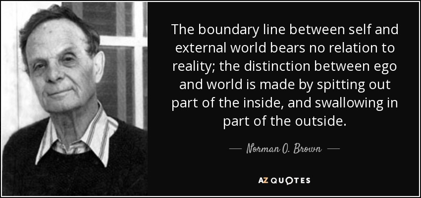 The boundary line between self and external world bears no relation to reality; the distinction between ego and world is made by spitting out part of the inside, and swallowing in part of the outside. - Norman O. Brown