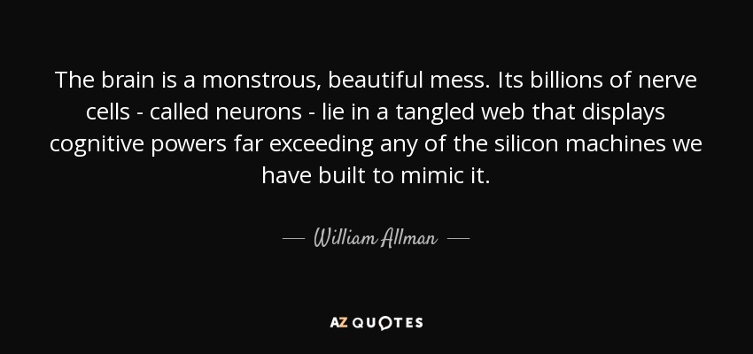 The brain is a monstrous, beautiful mess. Its billions of nerve cells - called neurons - lie in a tangled web that displays cognitive powers far exceeding any of the silicon machines we have built to mimic it. - William Allman