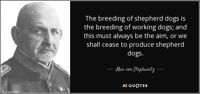 The breeding of shepherd dogs is the breeding of working dogs; and this must always be the aim, or we shall cease to produce shepherd dogs. - Max von Stephanitz