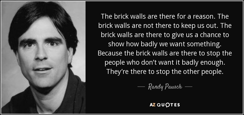 The brick walls are there for a reason. The brick walls are not there to keep us out. The brick walls are there to give us a chance to show how badly we want something. Because the brick walls are there to stop the people who don't want it badly enough. They're there to stop the other people. - Randy Pausch