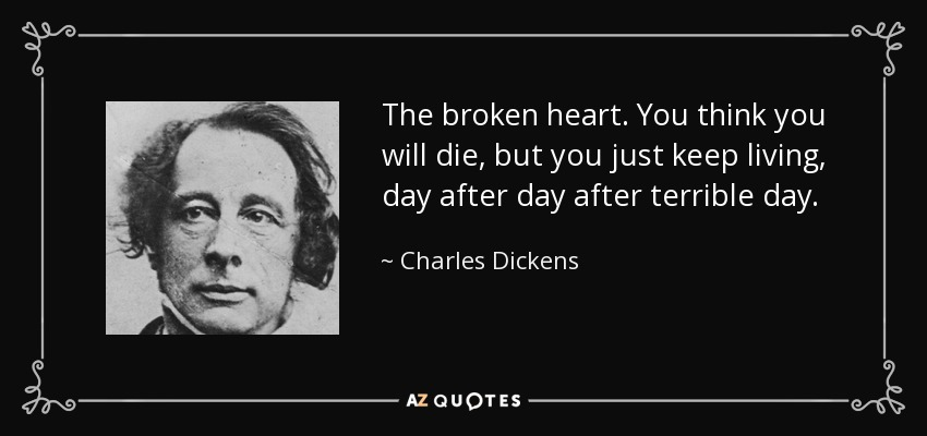 The broken heart. You think you will die, but you just keep living, day after day after terrible day. - Charles Dickens