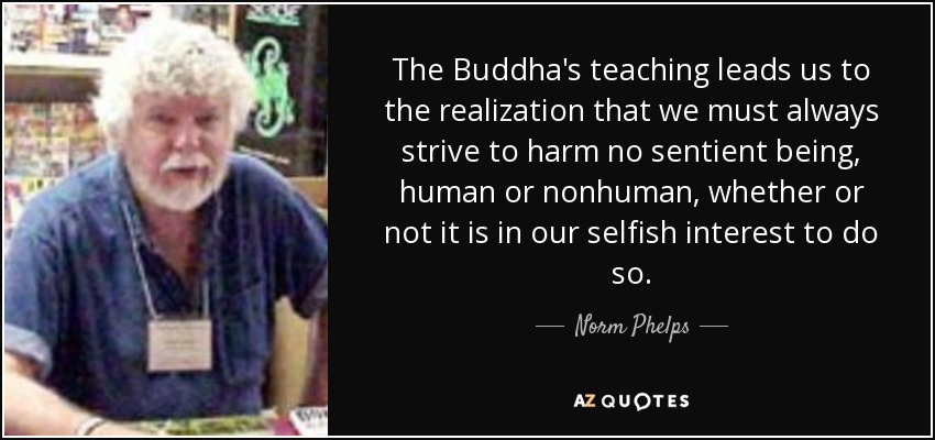 Norm Phelps Quote The Buddhas Teaching Leads Us To The Realization