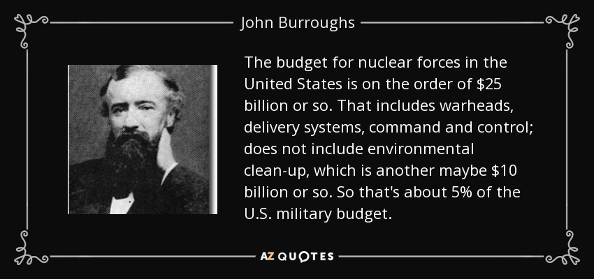 The budget for nuclear forces in the United States is on the order of $25 billion or so. That includes warheads, delivery systems, command and control; does not include environmental clean-up, which is another maybe $10 billion or so. So that's about 5% of the U.S. military budget. - John Burroughs
