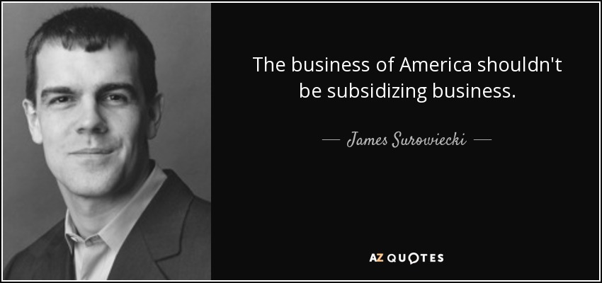 The business of America shouldn't be subsidizing business. - James Surowiecki