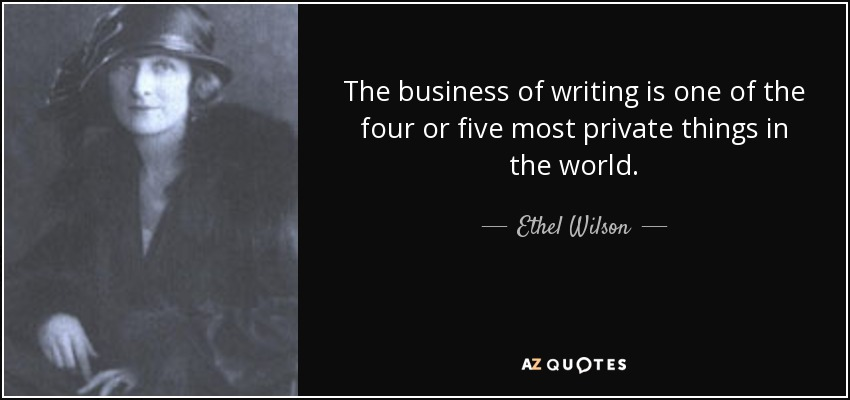 The business of writing is one of the four or five most private things in the world. - Ethel Wilson