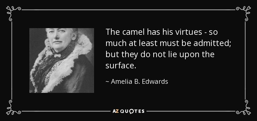 The camel has his virtues - so much at least must be admitted; but they do not lie upon the surface. - Amelia B. Edwards