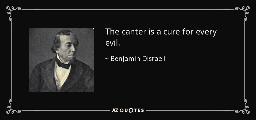The canter is a cure for every evil. - Benjamin Disraeli