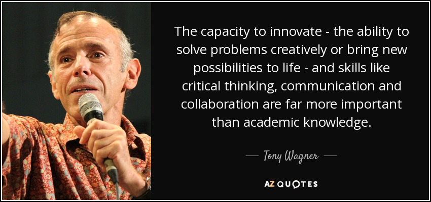 The capacity to innovate - the ability to solve problems creatively or bring new possibilities to life - and skills like critical thinking, communication and collaboration are far more important than academic knowledge. - Tony Wagner