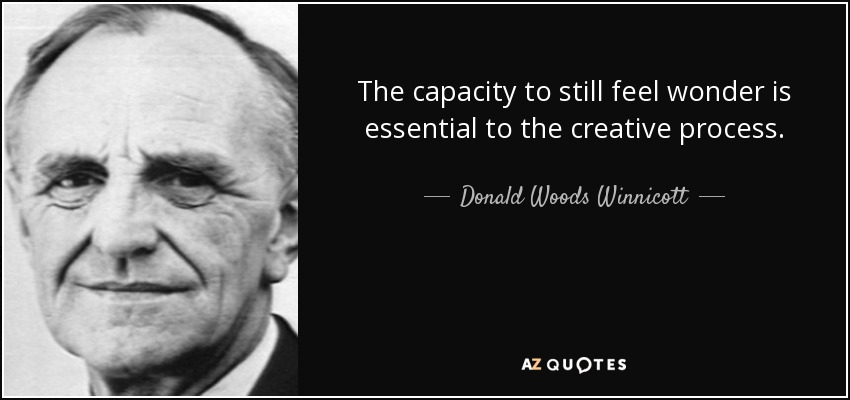The capacity to still feel wonder is essential to the creative process. - Donald Woods Winnicott