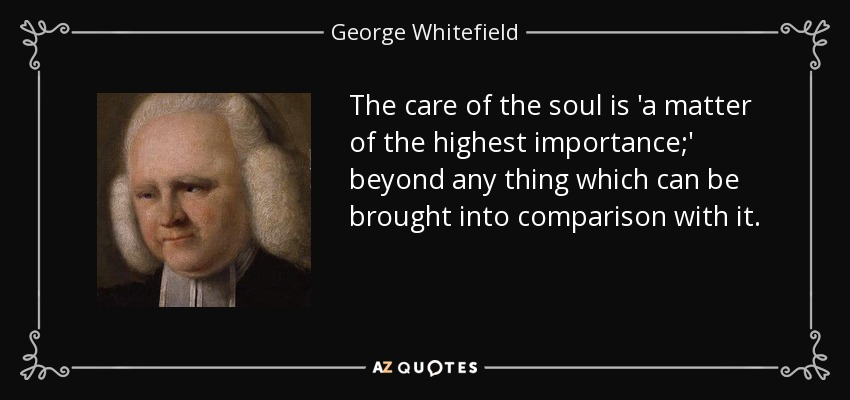 The care of the soul is 'a matter of the highest importance;' beyond any thing which can be brought into comparison with it. - George Whitefield