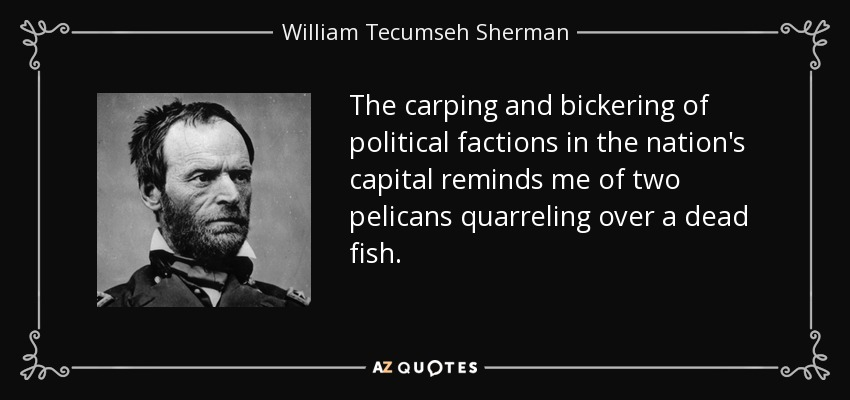 The carping and bickering of political factions in the nation's capital reminds me of two pelicans quarreling over a dead fish. - William Tecumseh Sherman