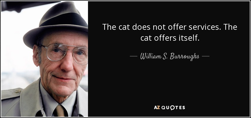 The cat does not offer services. The cat offers itself. - William S. Burroughs