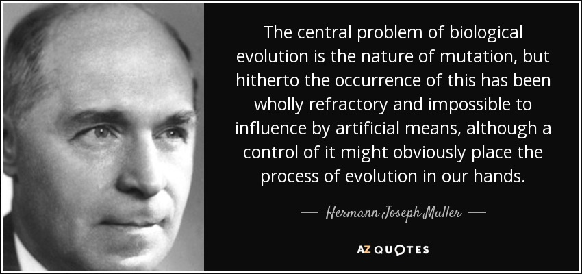 The central problem of biological evolution is the nature of mutation, but hitherto the occurrence of this has been wholly refractory and impossible to influence by artificial means, although a control of it might obviously place the process of evolution in our hands. - Hermann Joseph Muller