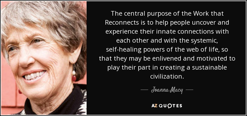 The central purpose of the Work that Reconnects is to help people uncover and experience their innate connections with each other and with the systemic, self-healing powers of the web of life, so that they may be enlivened and motivated to play their part in creating a sustainable civilization. - Joanna Macy