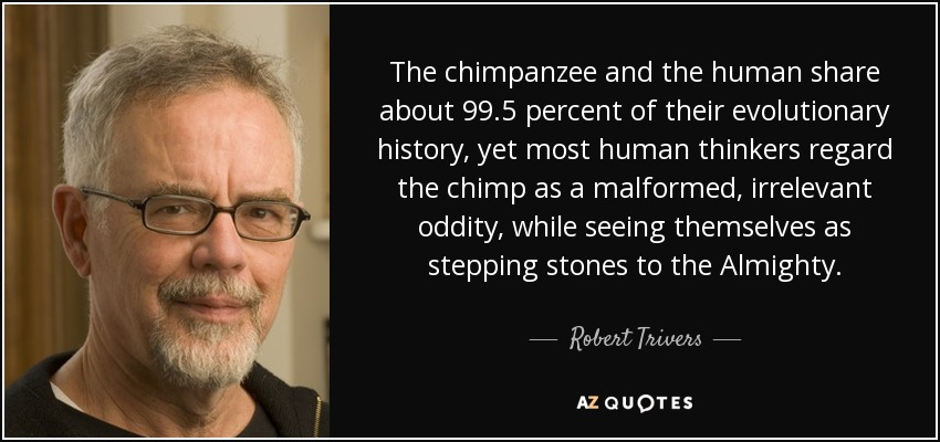 The chimpanzee and the human share about 99.5 percent of their evolutionary history, yet most human thinkers regard the chimp as a malformed, irrelevant oddity, while seeing themselves as stepping stones to the Almighty. - Robert Trivers