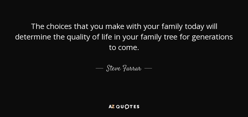 Steve Farrar Quote The Choices That You Make With Your Family Today Will