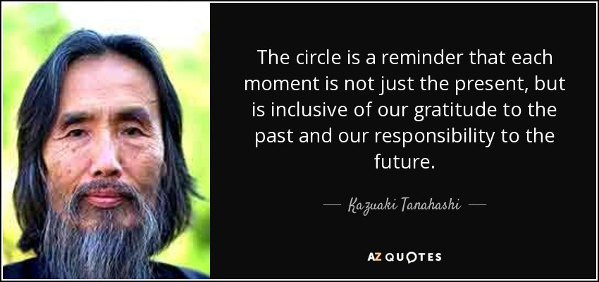 The circle is a reminder that each moment is not just the present, but is inclusive of our gratitude to the past and our responsibility to the future. - Kazuaki Tanahashi