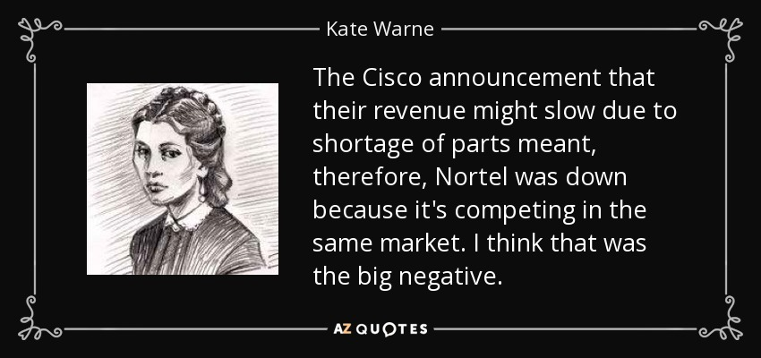 The Cisco announcement that their revenue might slow due to shortage of parts meant, therefore, Nortel was down because it's competing in the same market. I think that was the big negative. - Kate Warne