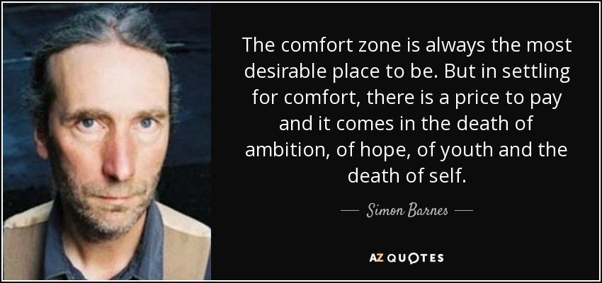 The comfort zone is always the most desirable place to be. But in settling for comfort, there is a price to pay and it comes in the death of ambition, of hope, of youth and the death of self. - Simon Barnes