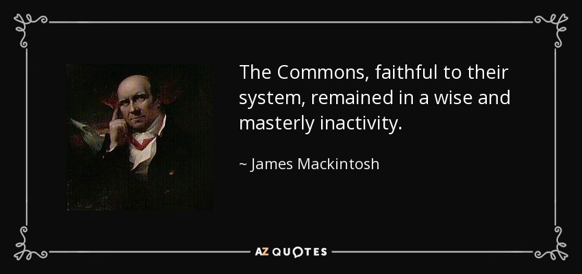 The Commons, faithful to their system, remained in a wise and masterly inactivity. - James Mackintosh