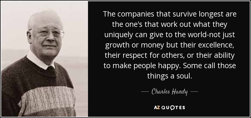 charles handy Charles handy is europe's best known and most influential management thinker in an interview with joel kurtzman, editor of strategy & business, mr handy elaborates on his concept of 'membership community' for the corporate model of the future.