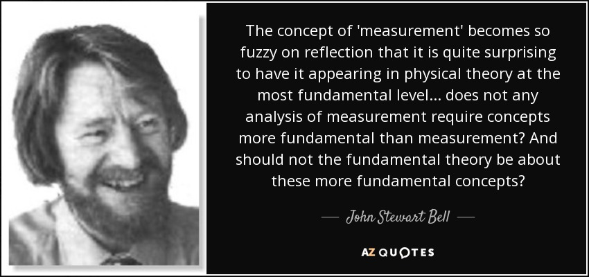 The concept of 'measurement' becomes so fuzzy on reflection that it is quite surprising to have it appearing in physical theory at the most fundamental level ... does not any analysis of measurement require concepts more fundamental than measurement? And should not the fundamental theory be about these more fundamental concepts? - John Stewart Bell
