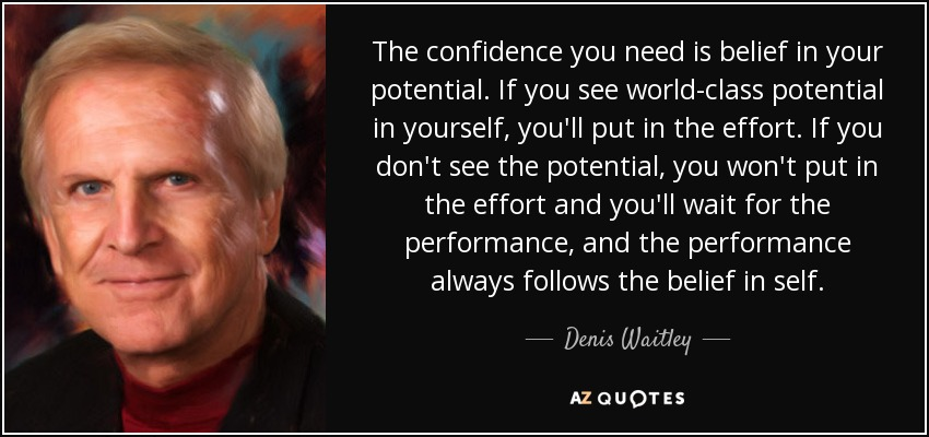 The confidence you need is belief in your potential. If you see world-class potential in yourself, you'll put in the effort. If you don't see the potential, you won't put in the effort and you'll wait for the performance, and the performance always follows the belief in self. - Denis Waitley