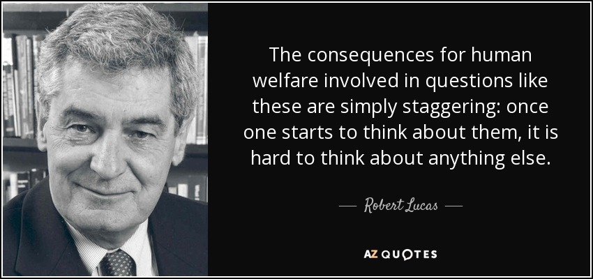The consequences for human welfare involved in questions like these are simply staggering: once one starts to think about them, it is hard to think about anything else. - Robert Lucas, Jr.