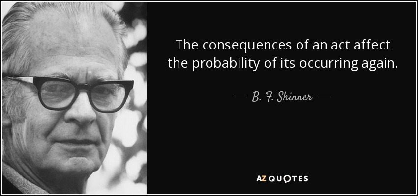 The consequences of an act affect the probability of its occurring again. - B. F. Skinner
