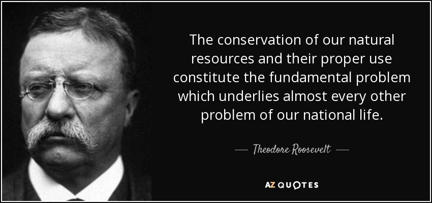 The conservation of our natural resources and their proper use constitute the fundamental problem which underlies almost every other problem of our national life. - Theodore Roosevelt