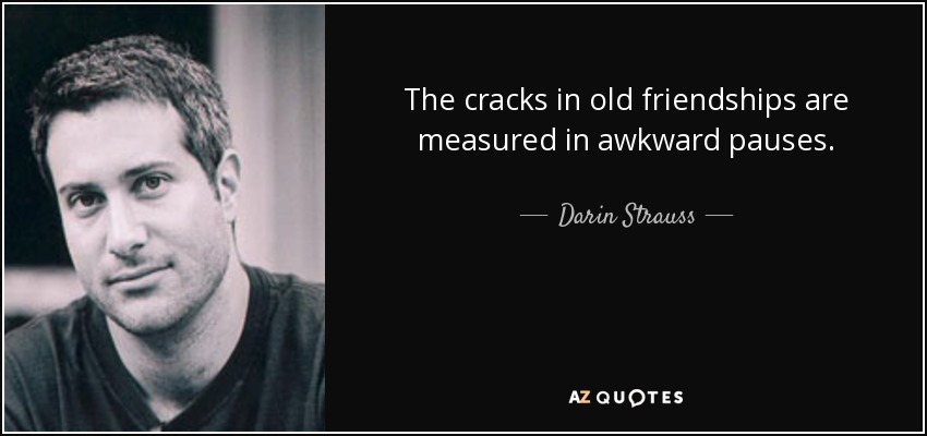 The cracks in old friendships are measured in awkward pauses. - Darin Strauss