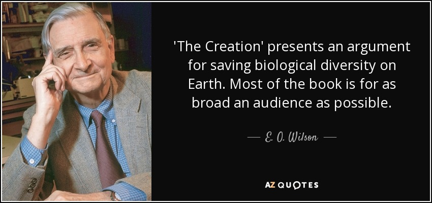 'The Creation' presents an argument for saving biological diversity on Earth. Most of the book is for as broad an audience as possible. - E. O. Wilson