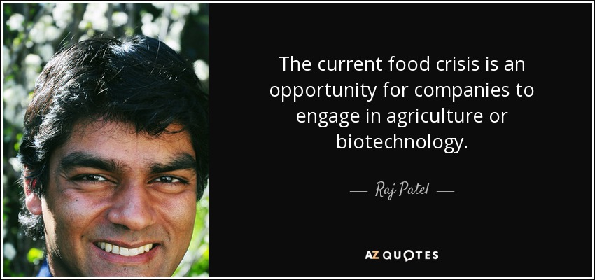 The current food crisis is an opportunity for companies to engage in agriculture or biotechnology. - Raj Patel