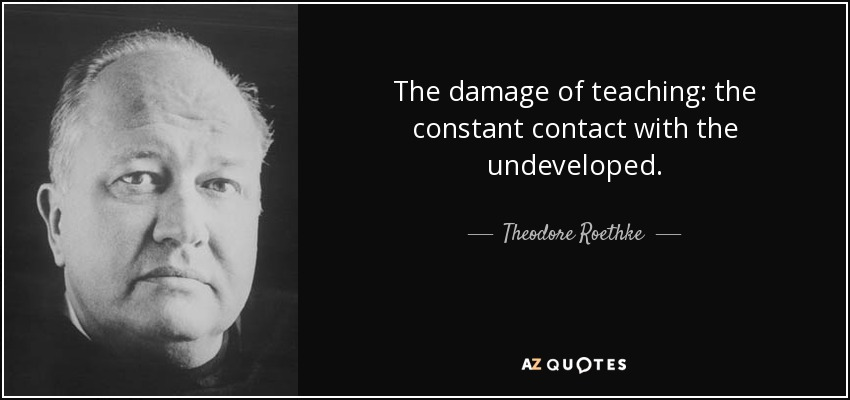 The damage of teaching: the constant contact with the undeveloped. - Theodore Roethke