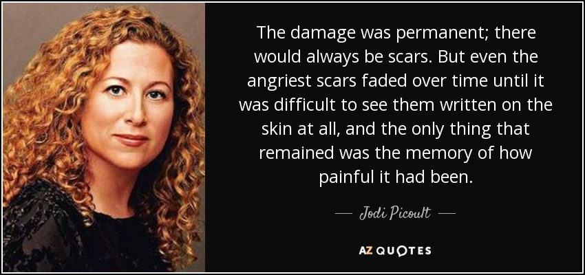 The damage was permanent; there would always be scars. But even the angriest scars faded over time until it was difficult to see them written on the skin at all, and the only thing that remained was the memory of how painful it had been. - Jodi Picoult