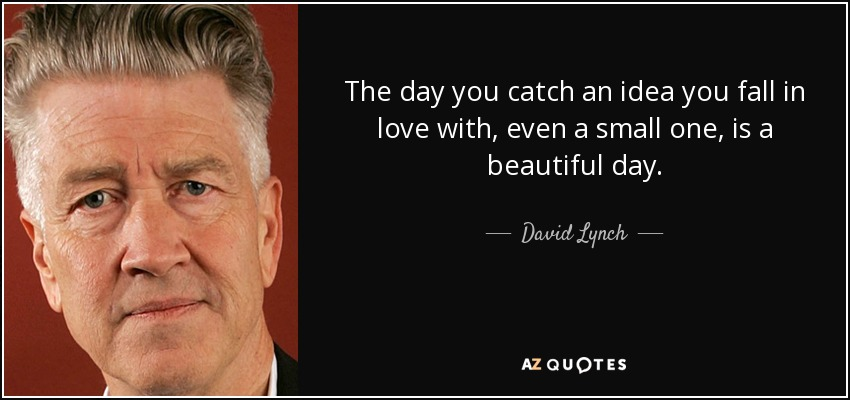 The day you catch an idea you fall in love with, even a small one, is a beautiful day. - David Lynch