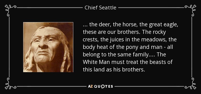 . . . the deer, the horse, the great eagle, these are our brothers. The rocky crests, the juices in the meadows, the body heat of the pony and man - all belong to the same family. . . . The White Man must treat the beasts of this land as his brothers. - Chief Seattle