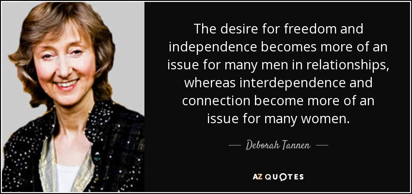 The desire for freedom and independence becomes more of an issue for many men in relationships, whereas interdependence and connection become more of an issue for many women. - Deborah Tannen