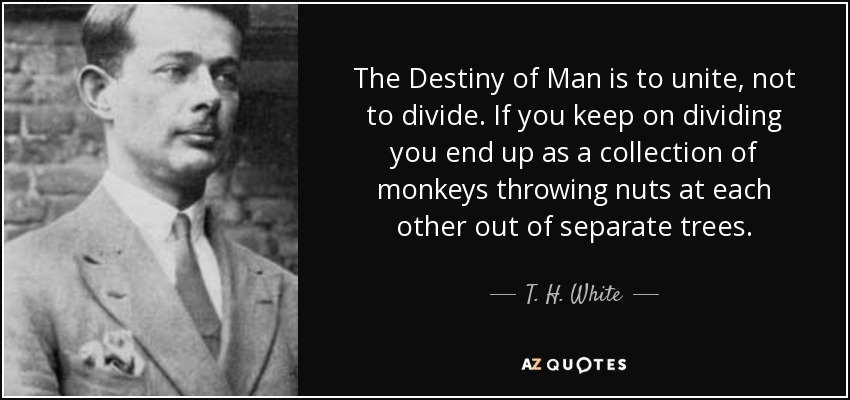 The Destiny of Man is to unite, not to divide. If you keep on dividing you end up as a collection of monkeys throwing nuts at each other out of separate trees. - T. H. White